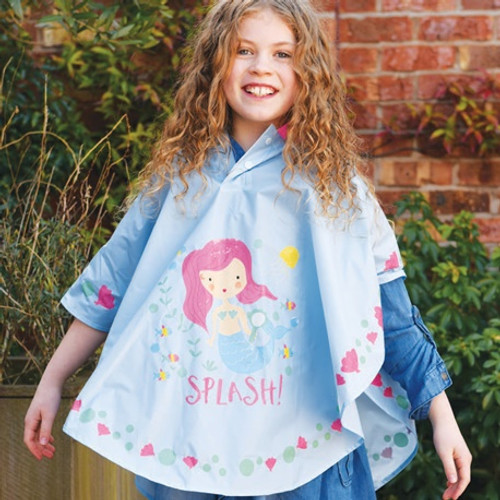 a child is wearing a pale purple mermaid rain poncho
