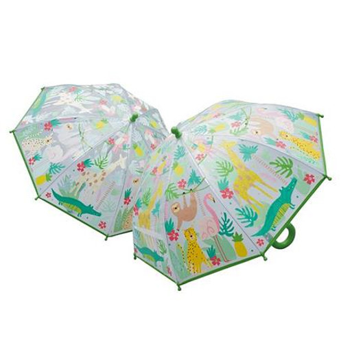 translucent kids umbrella with jungle illustrations