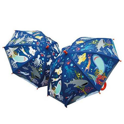 dark blue kids umbrella with ocean creatures