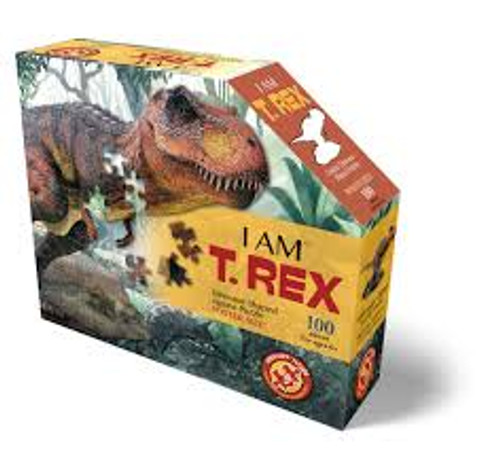 I am t-rex shaped puzzle, front of box