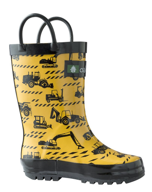 Oakiwear kids loop handle rainboots, yellow construction vehicles print
