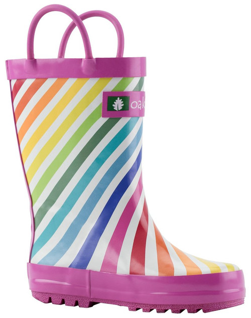 Oakiwear kids loop handle rainboots rainbow stripes