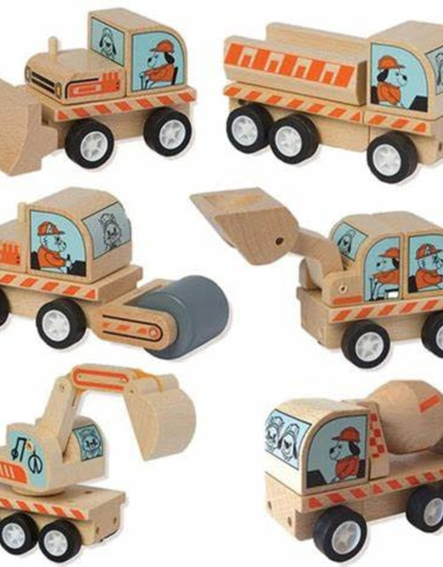 An assortment of mini wooden toy trucks