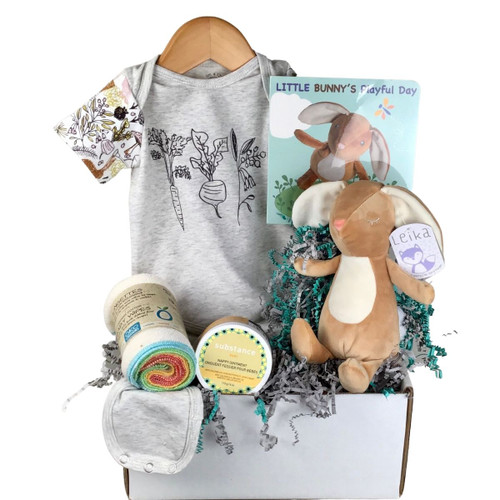 a display of 5 natural toned baby gifts: a bunny toy with a matching book, diaper cream, cloths and a onesie
