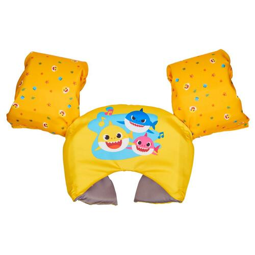 swimways baby shark swim trainer, yellow with baby shark motif