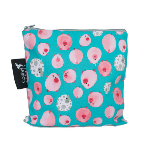 large reuseable snack bag, turquoise and pink pig print