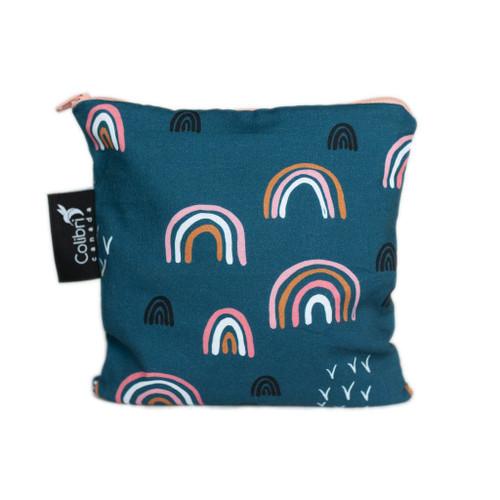 large reuseable snack bag, navy with rainbows
