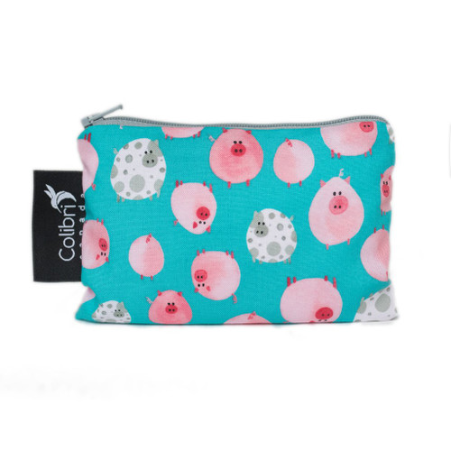 small reuseable snack bag, turquoise with pink pig print