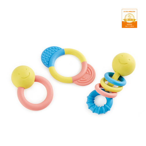 Hape rattle and teether set, 3 colourful baby rattles
