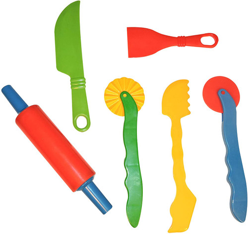Gowi modelling dough tools, 6 pieces, multicolour