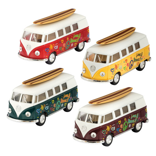 4 die cast volkswagen bus toys, yellow, green, red and burgundy