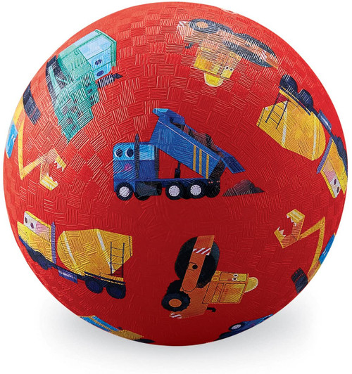 "5"" playground ball, red with truck print"