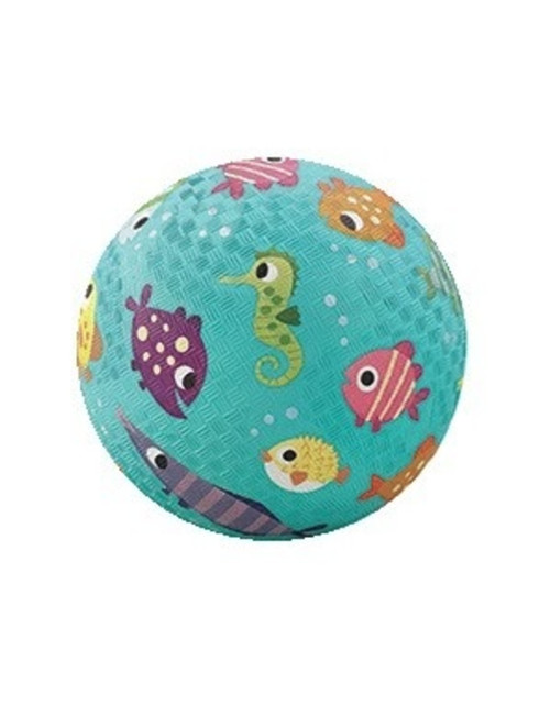 "5"" playground ball, aqua with fish print"