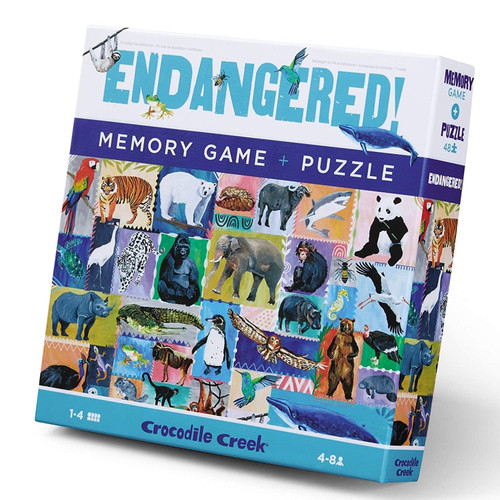 "Crocodile creek 48 piece puzzle and memory game ""endangered animals"""