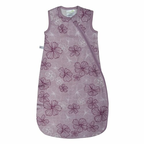 perlim pinpin muslin sleep sac, pink with pansy print