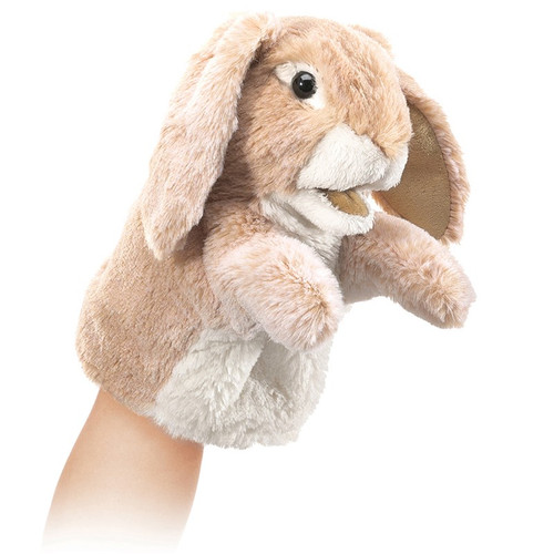 folkmanis little lop rabbit puppet on hand
