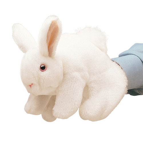 folkmanis white bunny rabbit puppet shown on a hand