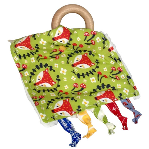 handmade baby crinkle square toy, green fabric with foxes