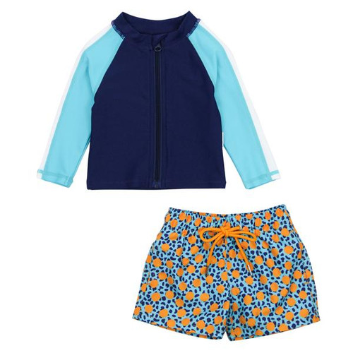 geo party upf jacket and trunks for kids, blue and orange