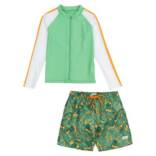 the tropic green print trunks and matching long sleeve rashguard