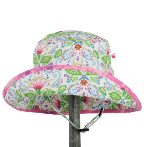 Snug As A Bug adjustable kids sun hat, water lily print