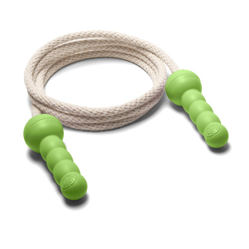green toys jump rope, natural rope with green plastic handles