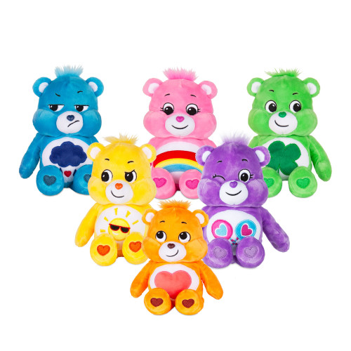 6 assorted colours of small Care Bear bean plush toys