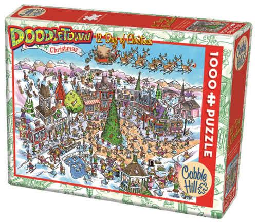 Cobble Hill puzzles Doodletown, 12 days of christmas 1000 pc. puzzle