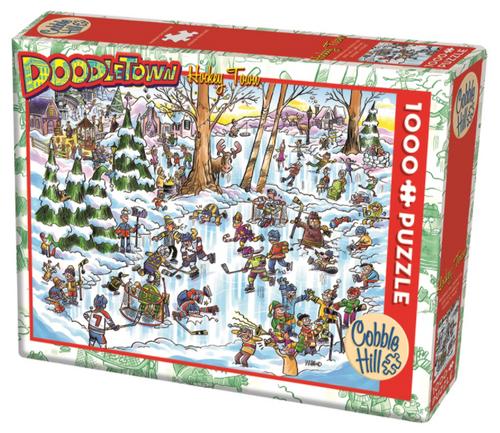 cobble hill puzzle doodletown hockey 1000 pc. puzzle