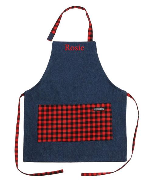 Snug as a bug kids denim apron, Canada Plaid print, shown personalized