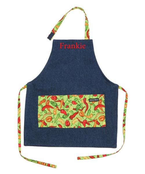 Snug as a bug kids denim apron, spicy print, shown personalized