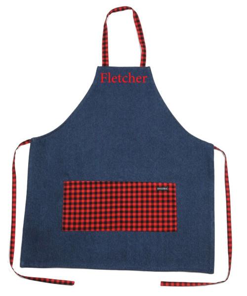 snug as a bug denim apron, Canada Plaid print, shown personalized