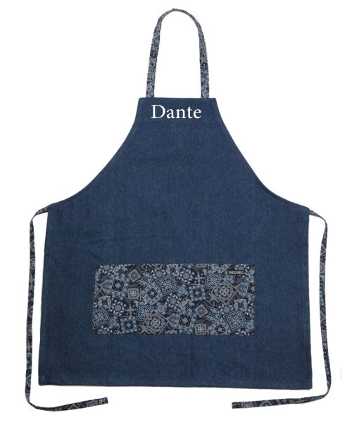 Snug As A Bug denim apron trimmed with bandana print fabric, shown personalized