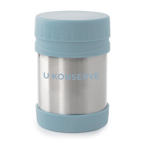 u conserve insulated food jar, stainless with pale blue trim