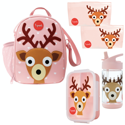 3 sprouts curated by snug as a bug lunch kit, deer print