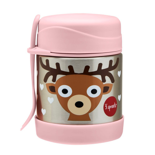 3 sprouts insulated food jar, pink and deer design