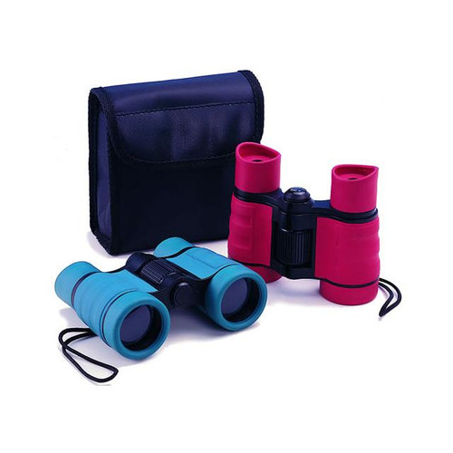 two pairs of kids binoculars shown with carrying case