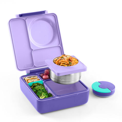 omiebox kids bento box, purple plum colour, shown filled with lunch