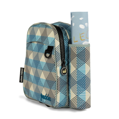 Urban infant toddler backpack, seattle print: white with blue plaid