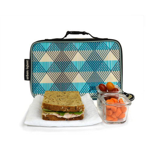 urban infant seattle print lunch bag for toddlers, white with blue plaid, shown with a sandwich and a glass container of small carrrots