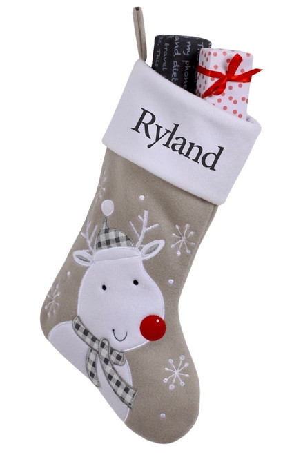 """Snug As A Bug Modern Grey Christmas stocking, Reindeer, personalized """"Ryland"""" and filled with gifts"""