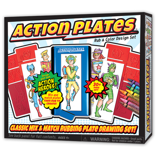 action plates kids art activity shown in box