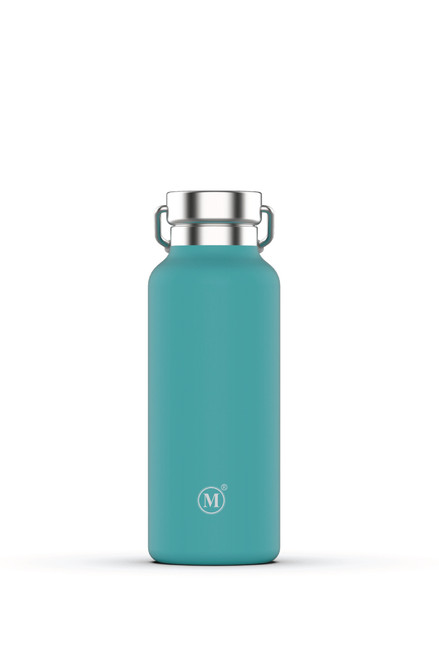 minimal 500 ml insulated stainless steel water bottle, aqua colour