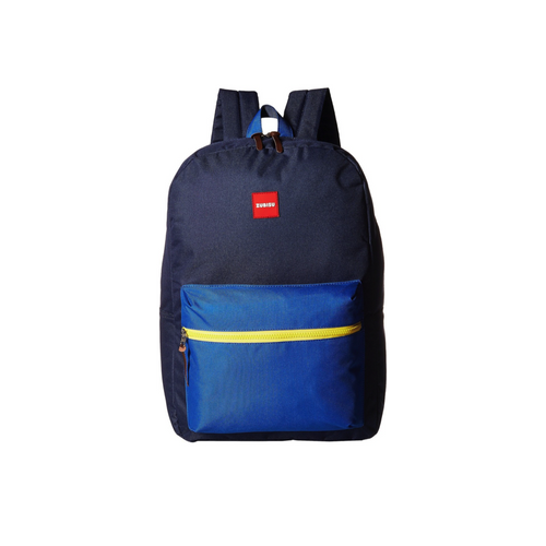 Zubisu large backpack, navy backpack with royal blue pocket and yellow zipper