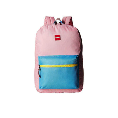 pink and blue colourblock large backpack