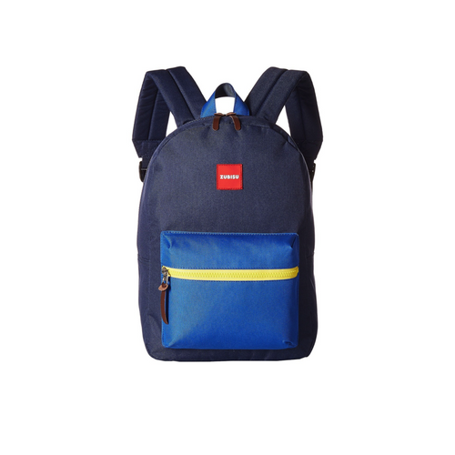 zubisu small blue backpack for kids, navy with blue pocket and yellow zipper