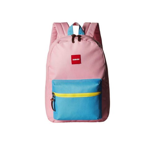 small pink zubisu backpack, pink with blue and yellow details