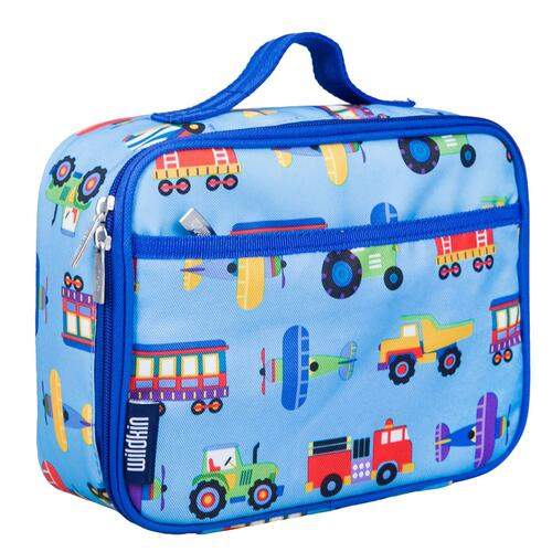 Wildkin heroes lunch box, pale blue with rescue vehicles