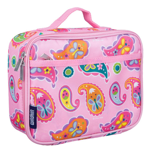 wildkin paisley classic lunch box, pink with paisley print