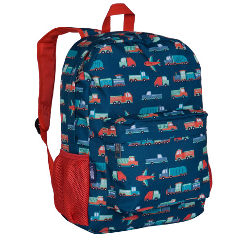 """wildkin 16"""" backpack navy with trucks and planes"""